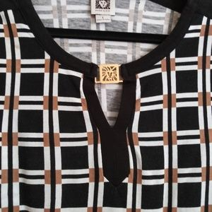 Anna Klein black white and brown Top